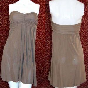YA YA ANTHROPOLOGIE taupe rayon tube top dress P